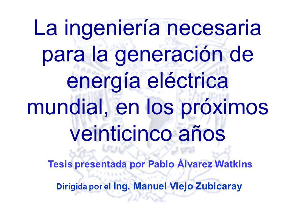 La ingeniería necesaria para la generación de energía eléctrica mundial, en los próximos veinticinco años