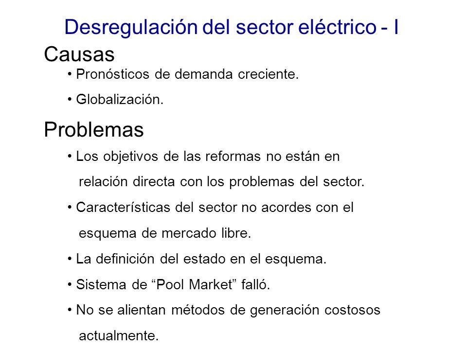 Desregulación del sector eléctrico - I