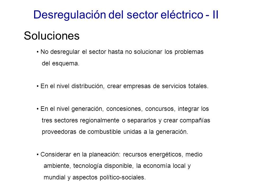 Desregulación del sector eléctrico - II