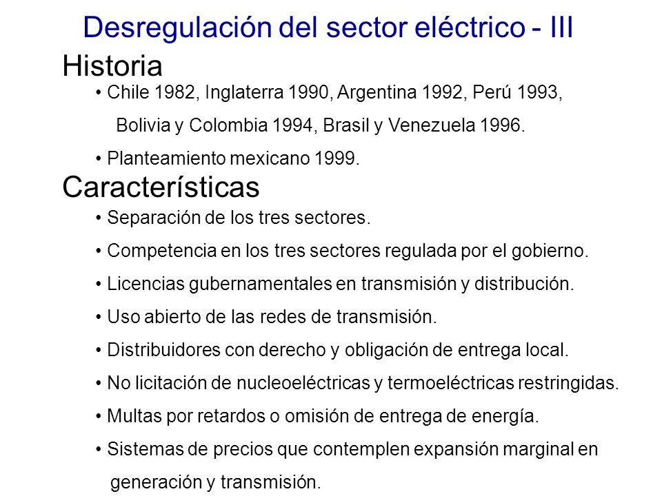 Desregulación del sector eléctrico - III
