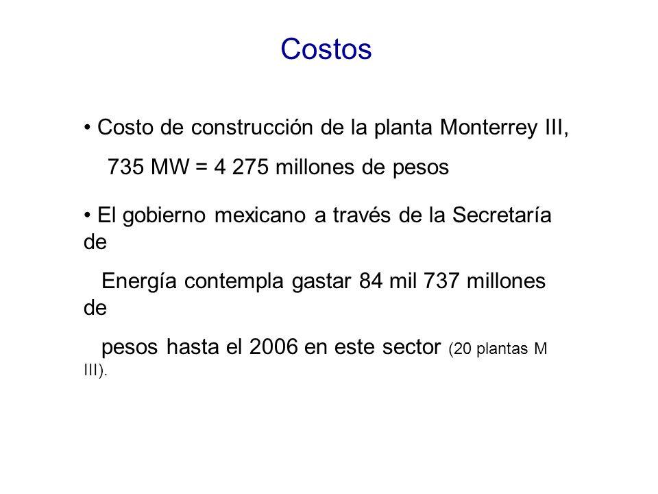 Costos • Costo de construcción de la planta Monterrey III,