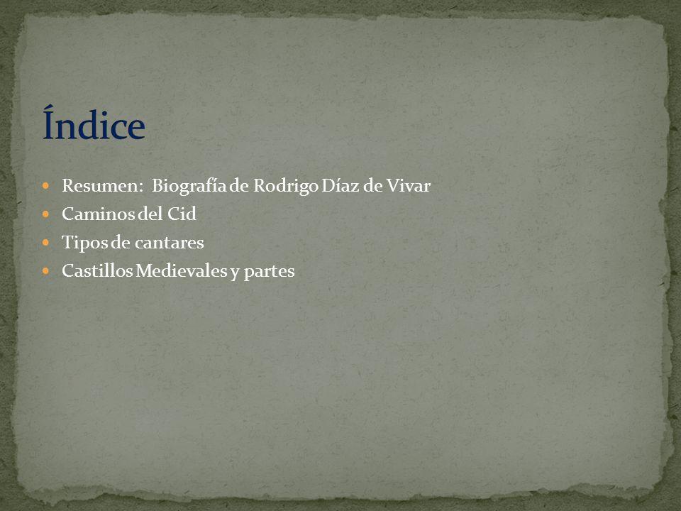 Índice Resumen: Biografía de Rodrigo Díaz de Vivar Caminos del Cid