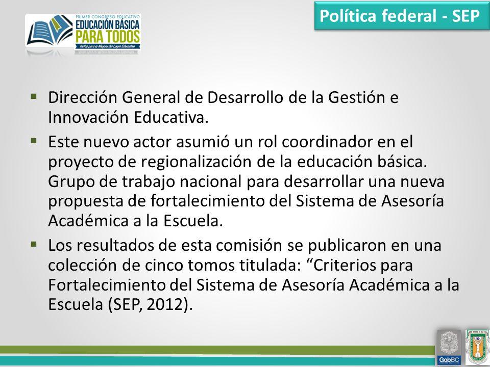 Política federal - SEP Dirección General de Desarrollo de la Gestión e Innovación Educativa.