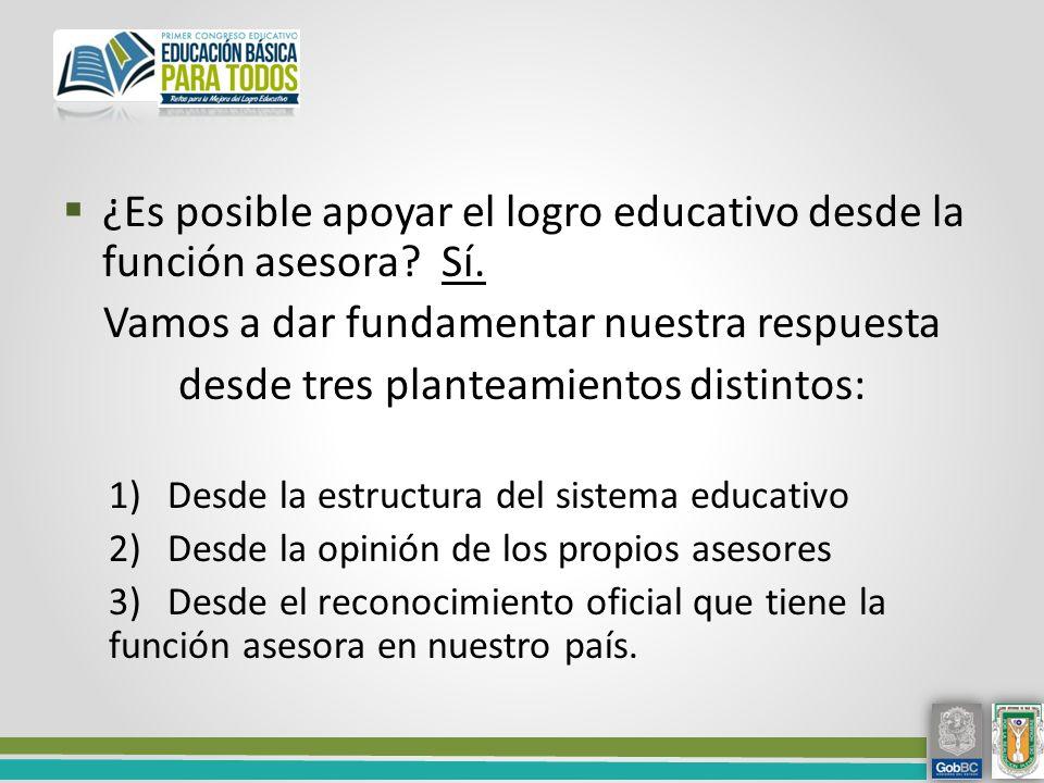 ¿Es posible apoyar el logro educativo desde la función asesora Sí.