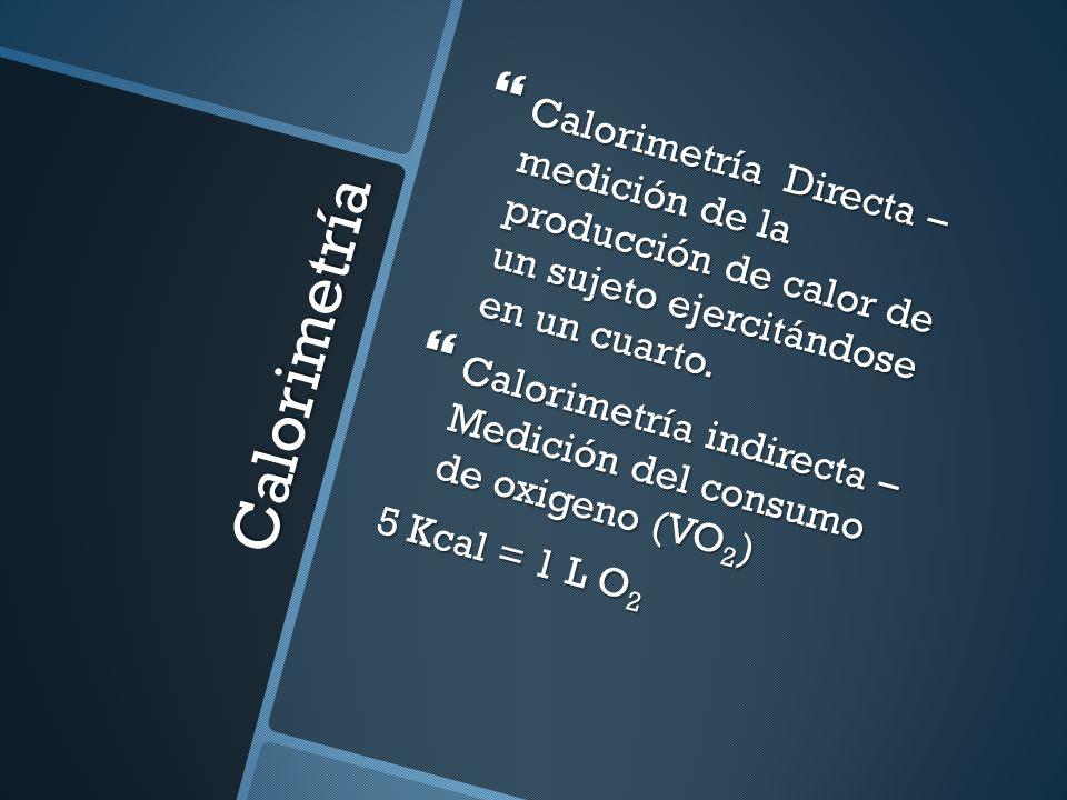 Calorimetría Directa – medición de la producción de calor de un sujeto ejercitándose en un cuarto.