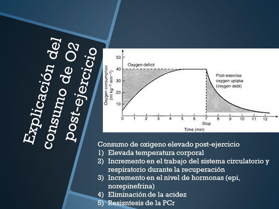 Explicación del consumo de O2 post-ejercicio