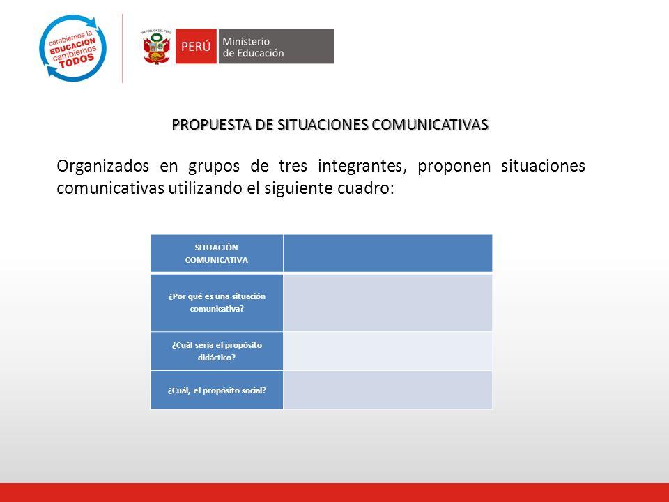 PROPUESTA DE SITUACIONES COMUNICATIVAS