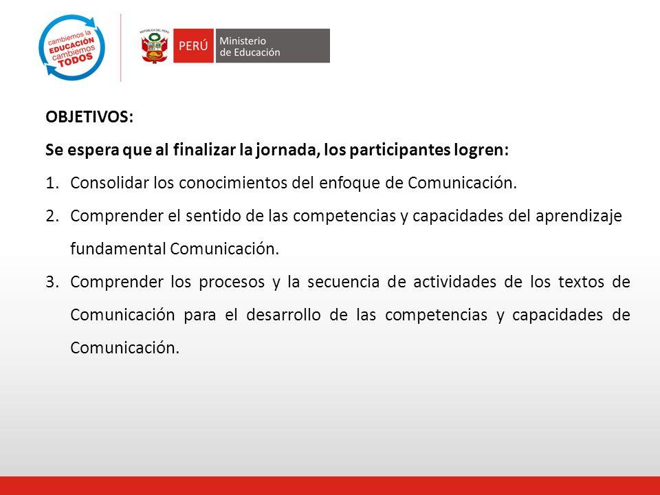 OBJETIVOS: Se espera que al finalizar la jornada, los participantes logren: Consolidar los conocimientos del enfoque de Comunicación.