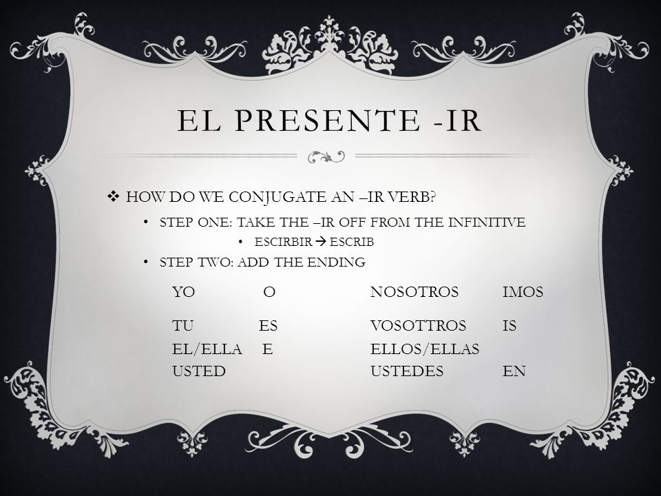 EL PRESENTE -IR HOW DO WE CONJUGATE AN –IR VERB YO O NOSOTROS IMOS