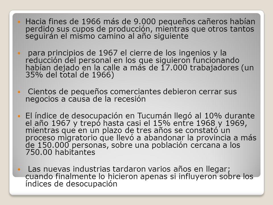 Hacia fines de 1966 más de 9.000 pequeños cañeros habían perdido sus cupos de producción, mientras que otros tantos seguirán el mismo camino al año siguiente