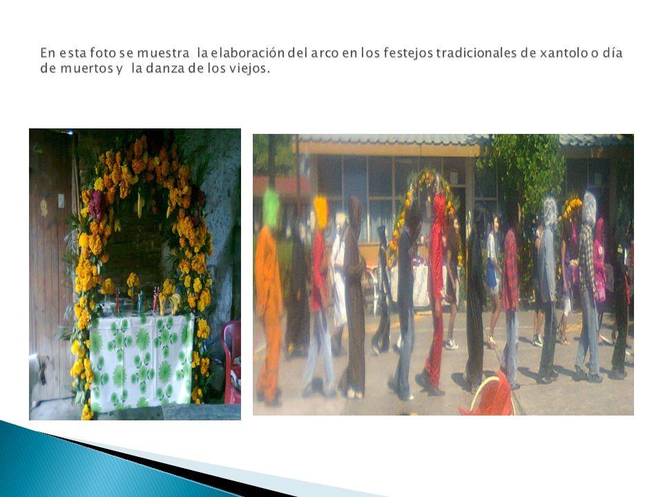 En esta foto se muestra la elaboración del arco en los festejos tradicionales de xantolo o día de muertos y la danza de los viejos.