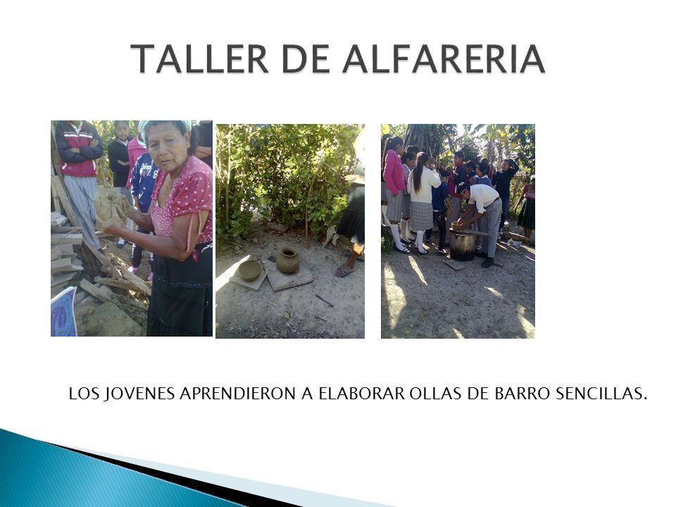 TALLER DE ALFARERIA LOS JOVENES APRENDIERON A ELABORAR OLLAS DE BARRO SENCILLAS.