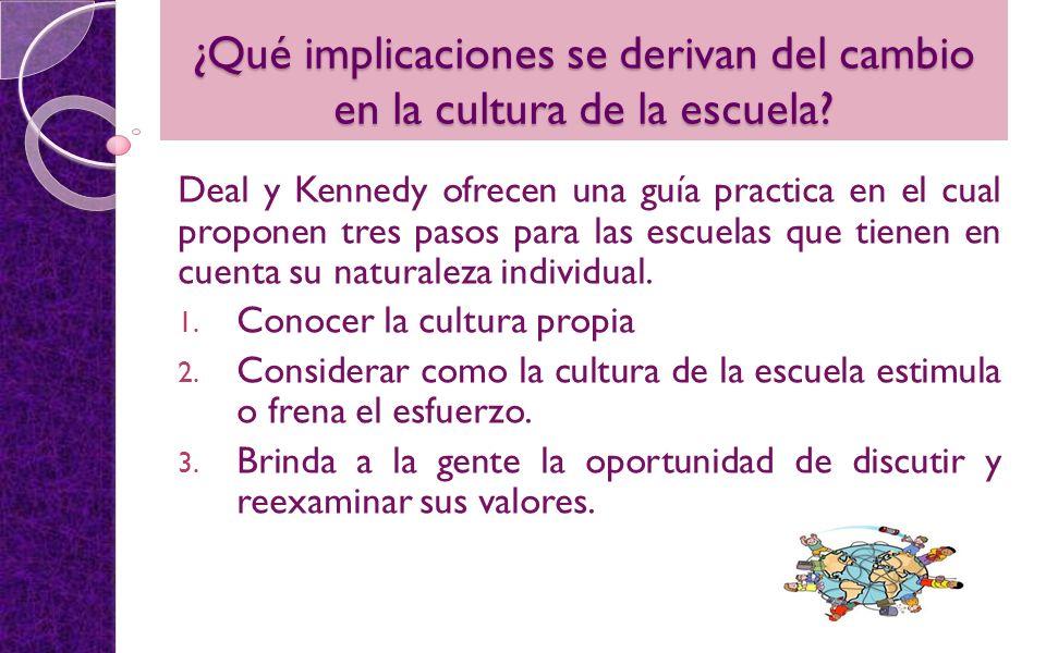 ¿Qué implicaciones se derivan del cambio en la cultura de la escuela