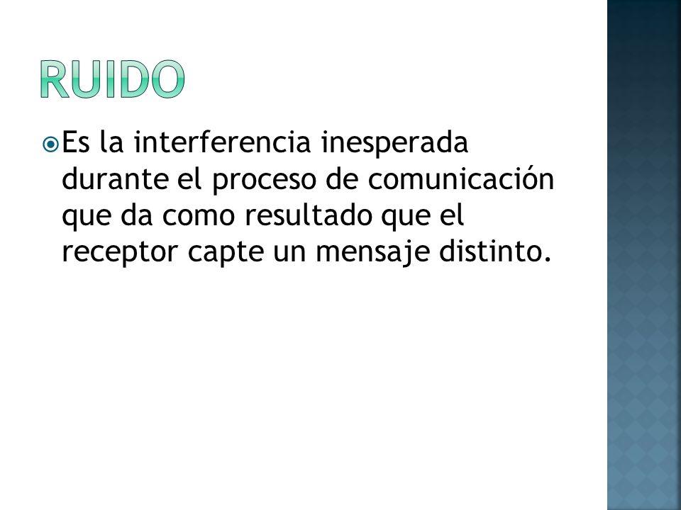 RUIDO Es la interferencia inesperada durante el proceso de comunicación que da como resultado que el receptor capte un mensaje distinto.
