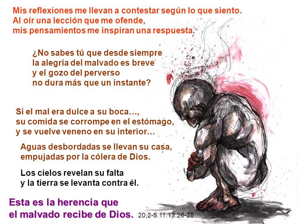 el malvado recibe de Dios. 20,2-5.11.13.26-28