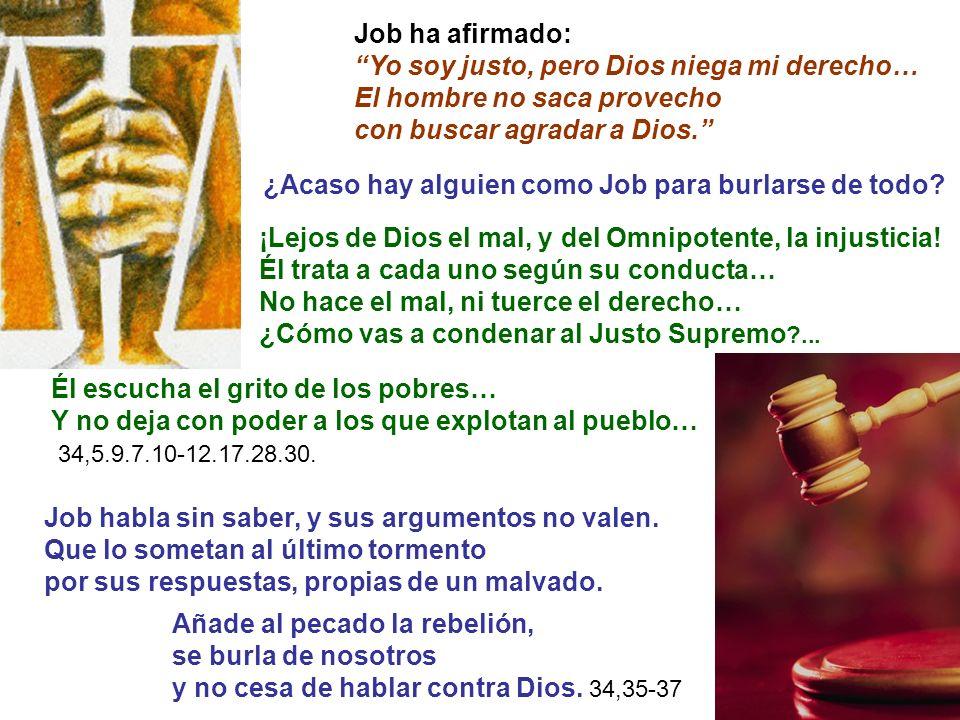 Job ha afirmado: Yo soy justo, pero Dios niega mi derecho… El hombre no saca provecho. con buscar agradar a Dios.