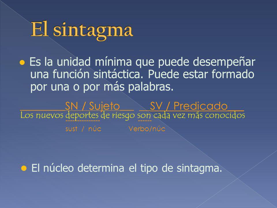 El sintagma ● El núcleo determina el tipo de sintagma.