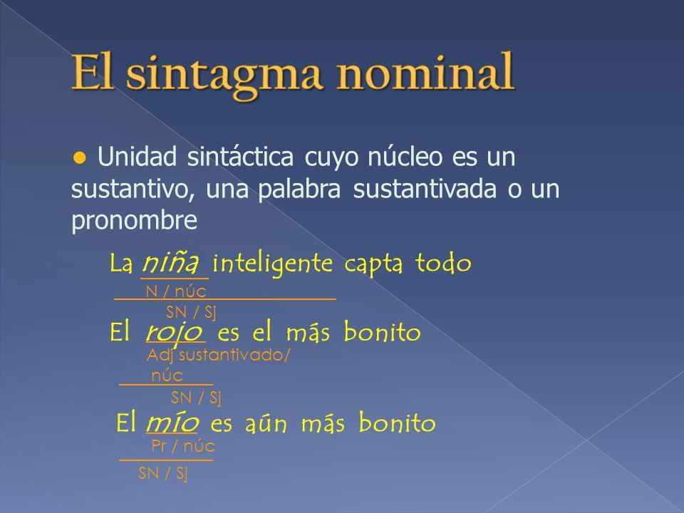 El sintagma nominal ● Unidad sintáctica cuyo núcleo es un sustantivo, una palabra sustantivada o un pronombre.