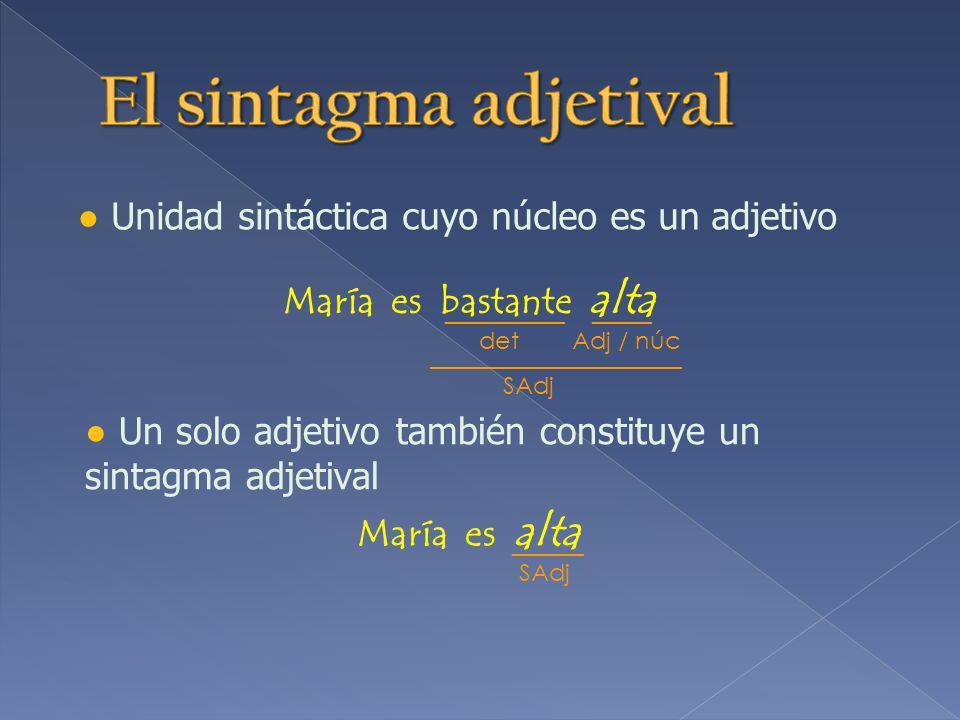El sintagma adjetival ● Unidad sintáctica cuyo núcleo es un adjetivo