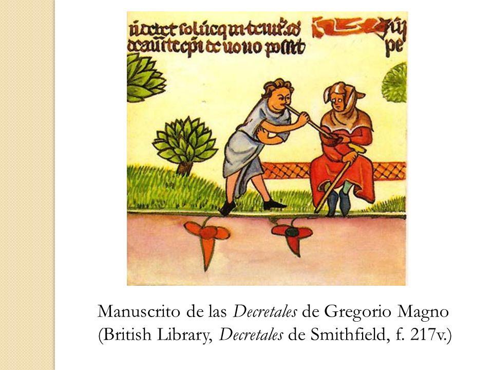 Manuscrito de las Decretales de Gregorio Magno (British Library, Decretales de Smithfield, f. 217v.)