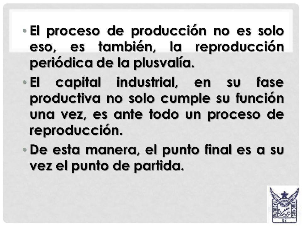 El proceso de producción no es solo eso, es también, la reproducción periódica de la plusvalía.