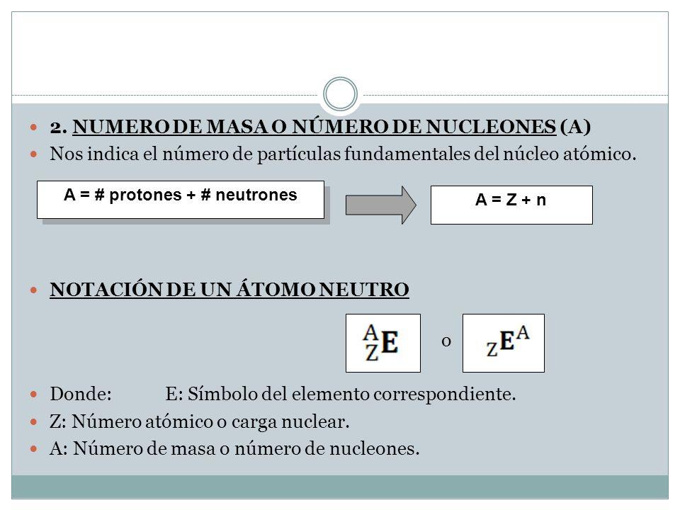 A = # protones + # neutrones