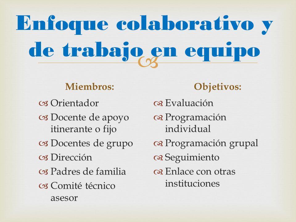 Enfoque colaborativo y de trabajo en equipo