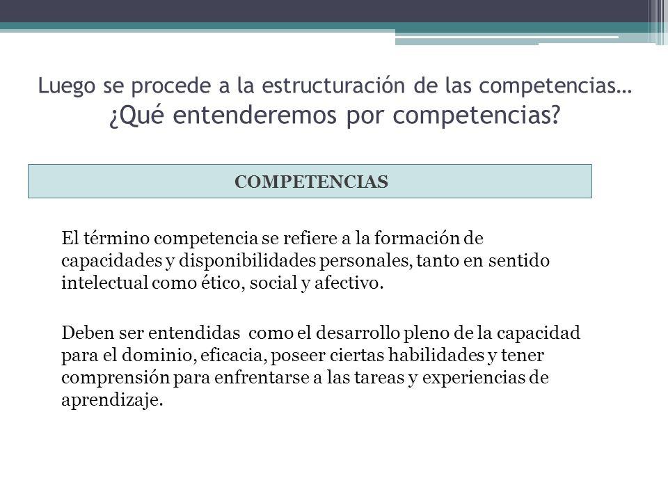 Luego se procede a la estructuración de las competencias… ¿Qué entenderemos por competencias