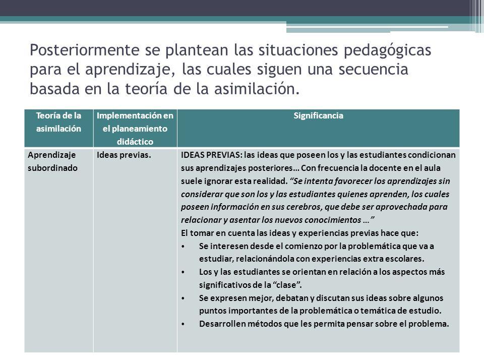 Teoría de la asimilación Implementación en el planeamiento didáctico