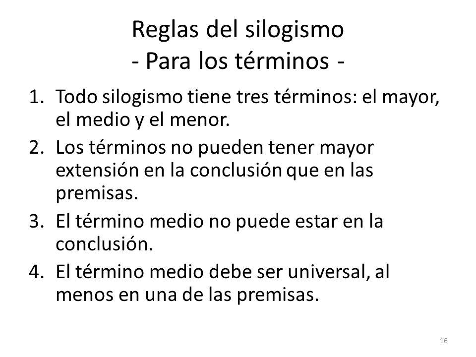Reglas del silogismo - Para los términos -