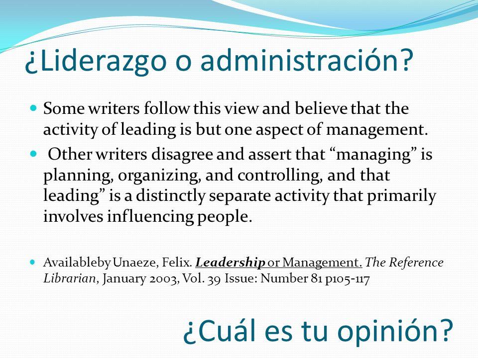 ¿Liderazgo o administración