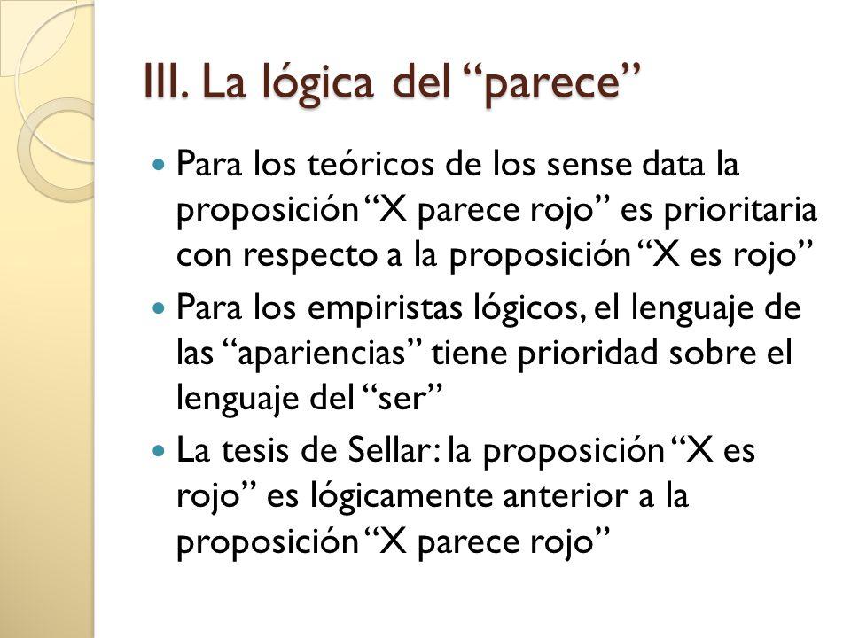 III. La lógica del parece