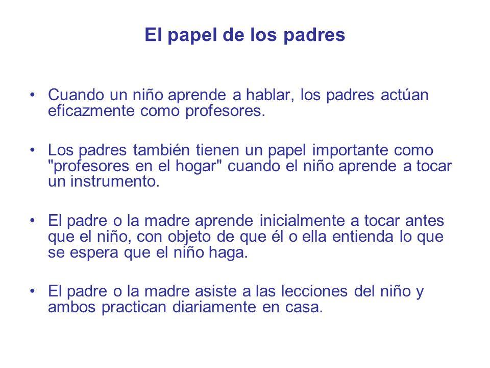 El papel de los padres Cuando un niño aprende a hablar, los padres actúan eficazmente como profesores.