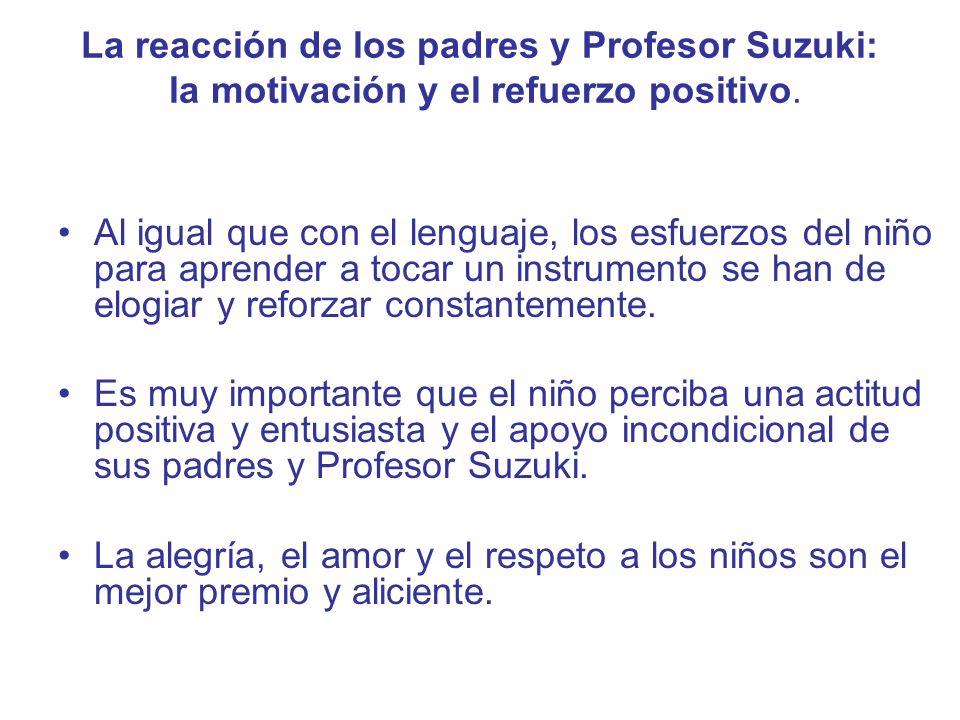 La reacción de los padres y Profesor Suzuki: la motivación y el refuerzo positivo.