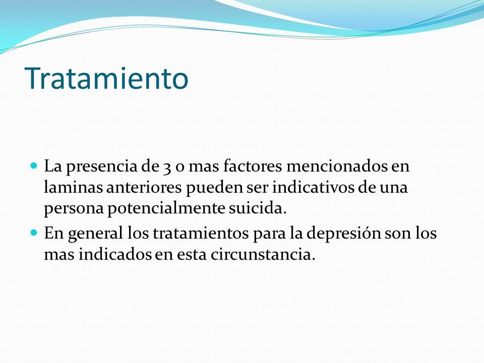 Tratamiento La presencia de 3 o mas factores mencionados en laminas anteriores pueden ser indicativos de una persona potencialmente suicida.