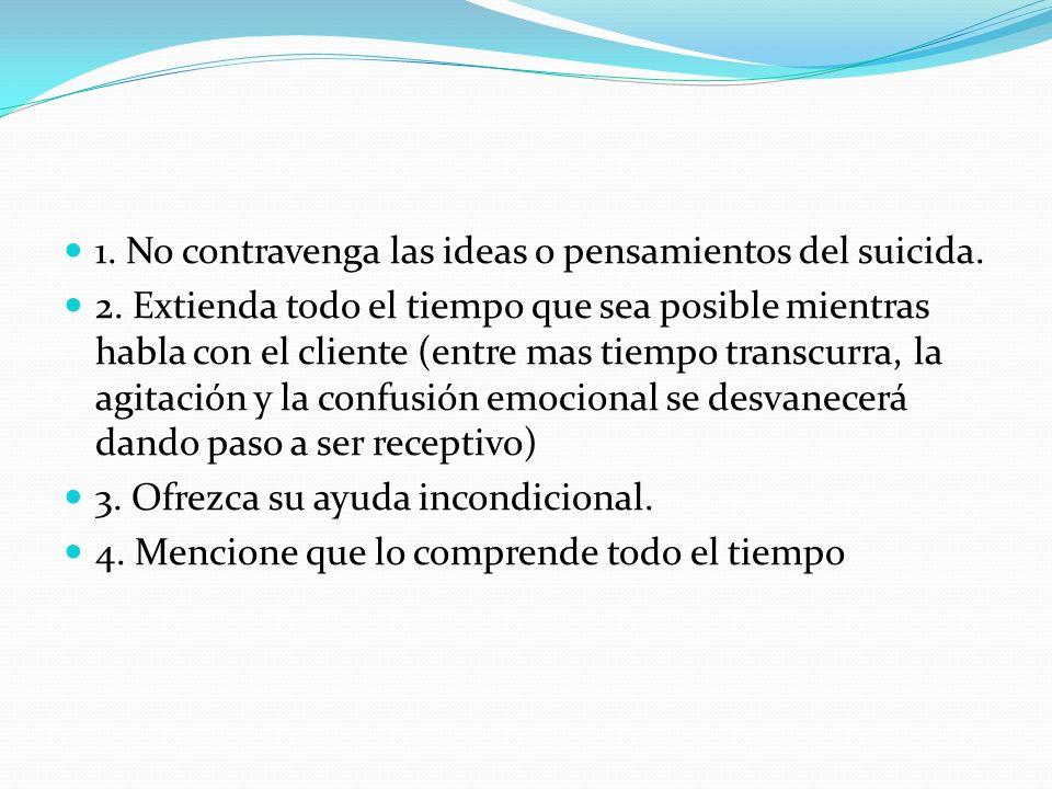1. No contravenga las ideas o pensamientos del suicida.