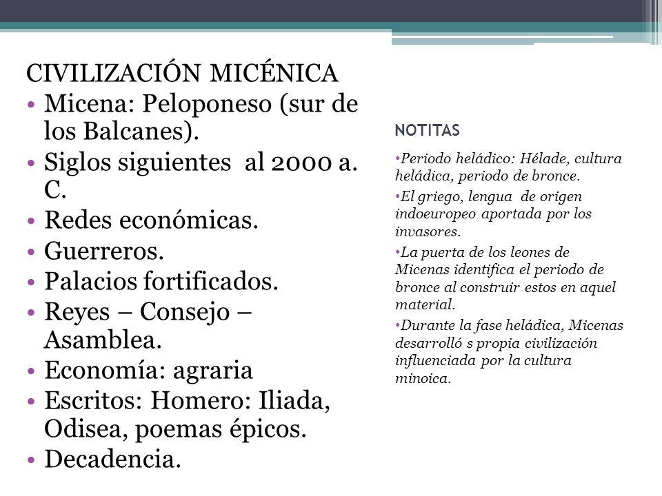 CIVILIZACIÓN MICÉNICA Micena: Peloponeso (sur de los Balcanes).