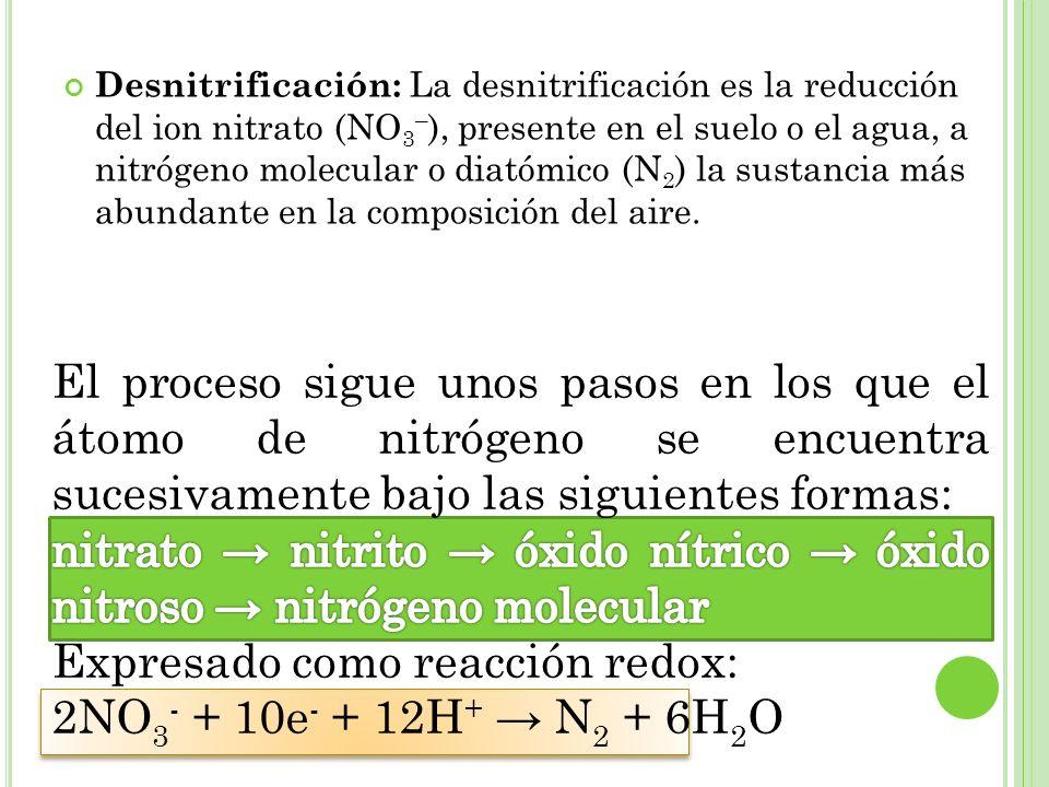 Expresado como reacción redox: 2NO3- + 10e- + 12H+ → N2 + 6H2O