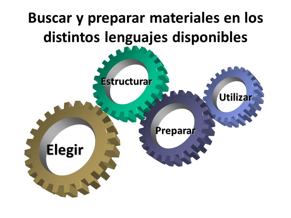 Buscar y preparar materiales en los distintos lenguajes disponibles