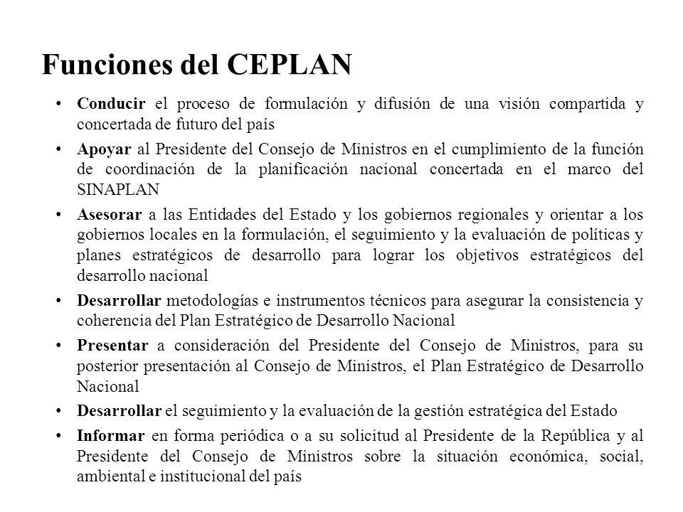 Funciones del CEPLAN Conducir el proceso de formulación y difusión de una visión compartida y concertada de futuro del país.