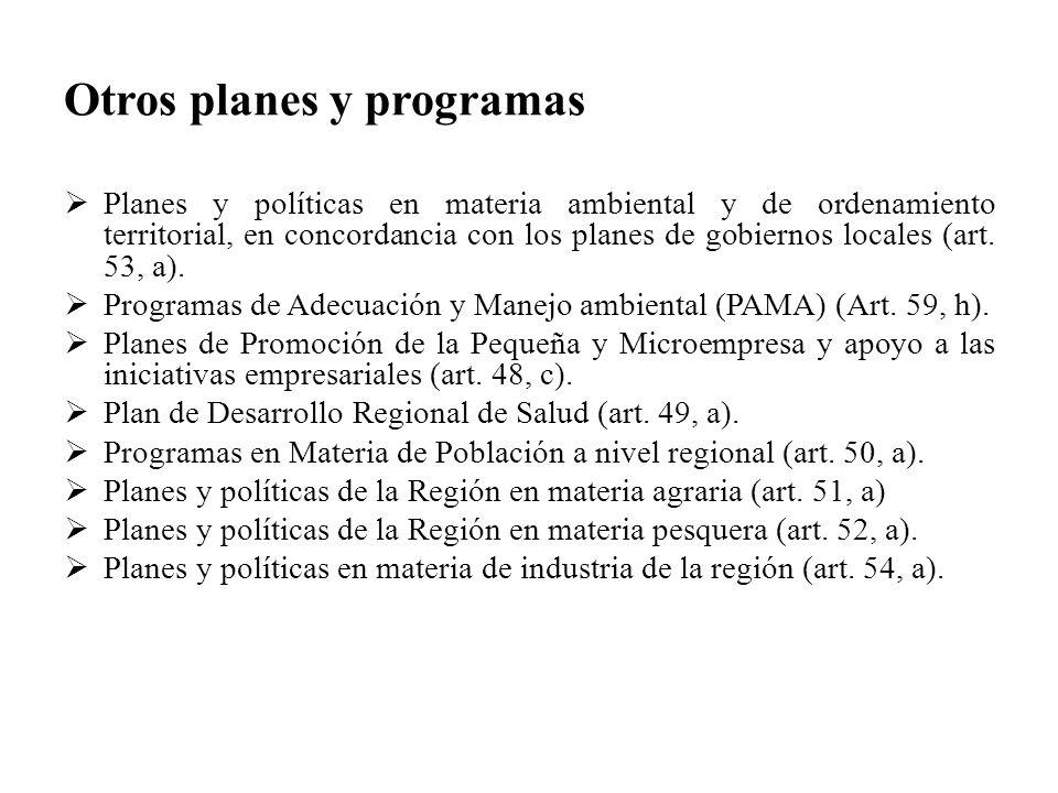 Otros planes y programas