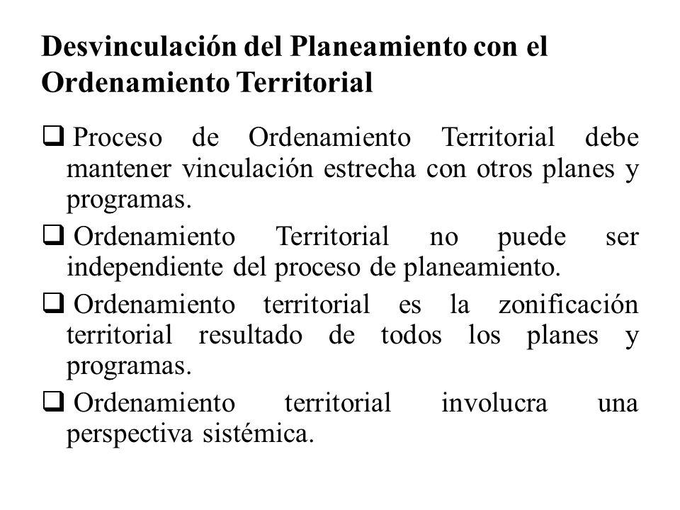 Desvinculación del Planeamiento con el Ordenamiento Territorial