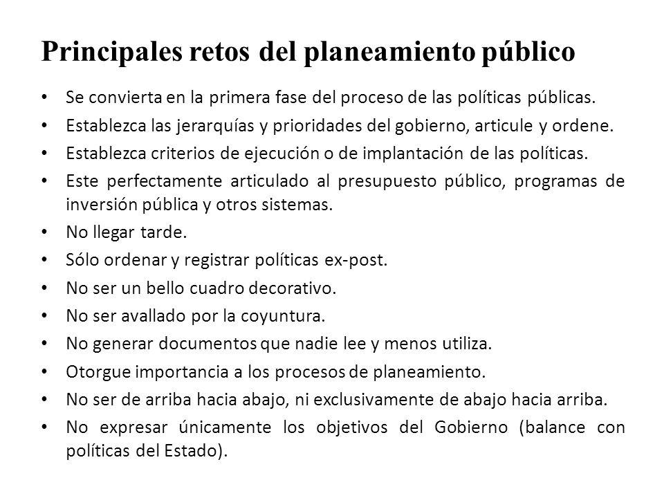 Principales retos del planeamiento público