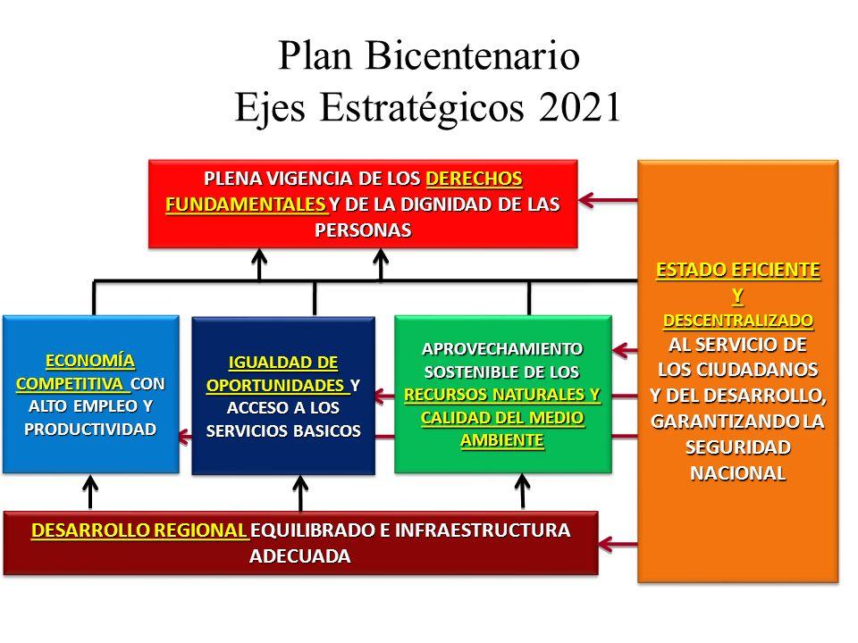 Plan Bicentenario Ejes Estratégicos 2021