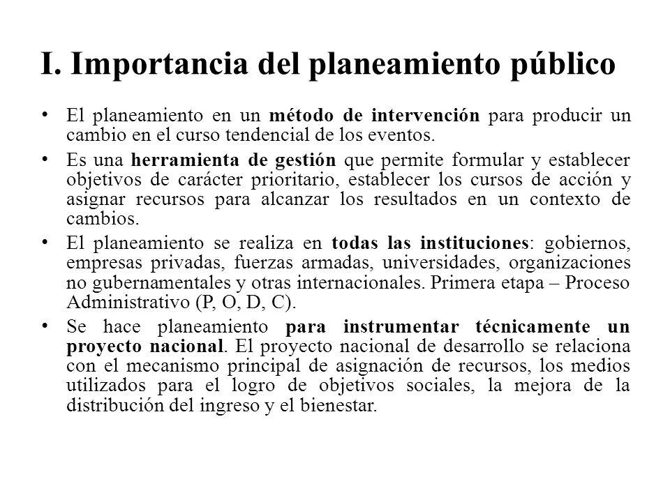I. Importancia del planeamiento público