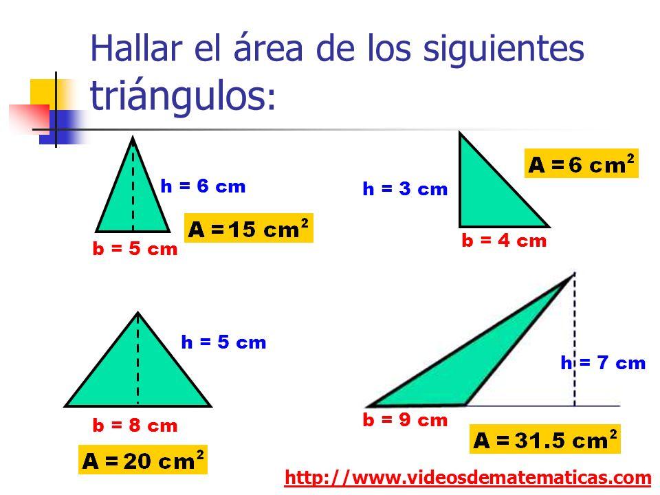Hallar el área de los siguientes triángulos:
