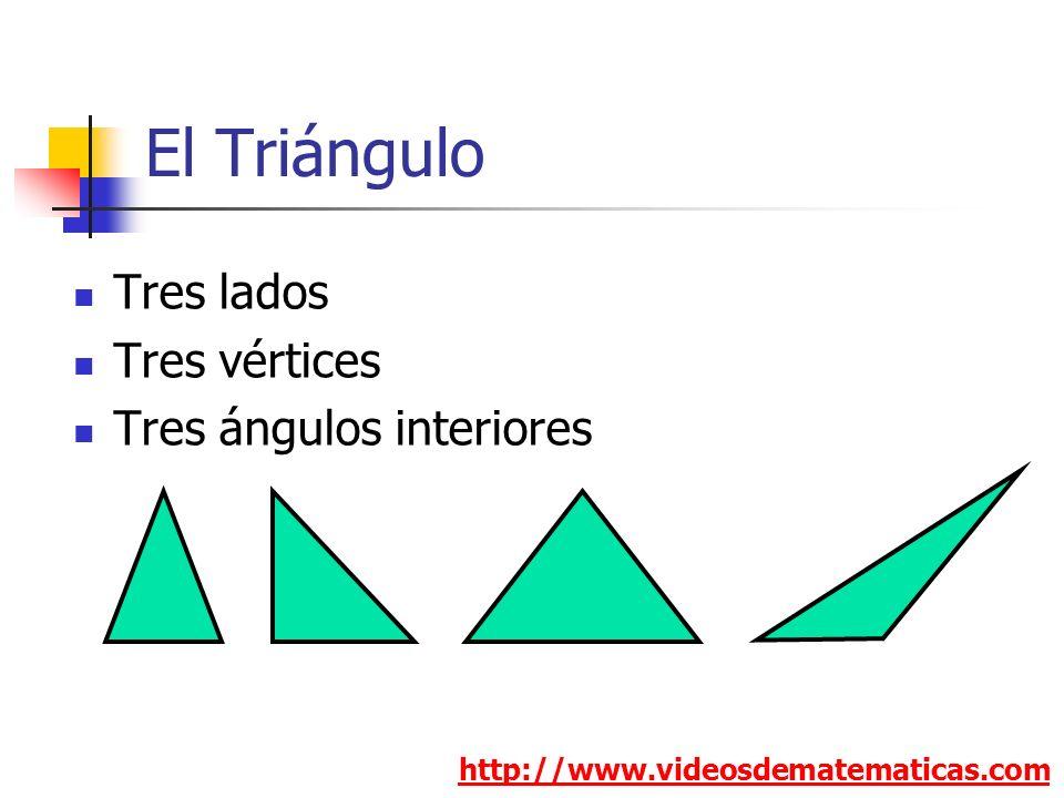 El Triángulo Tres lados Tres vértices Tres ángulos interiores