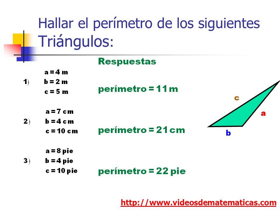 Hallar el perímetro de los siguientes Triángulos: