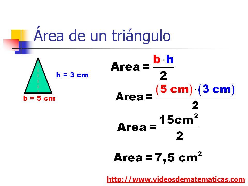 Área de un triángulo h = 3 cm b = 5 cm