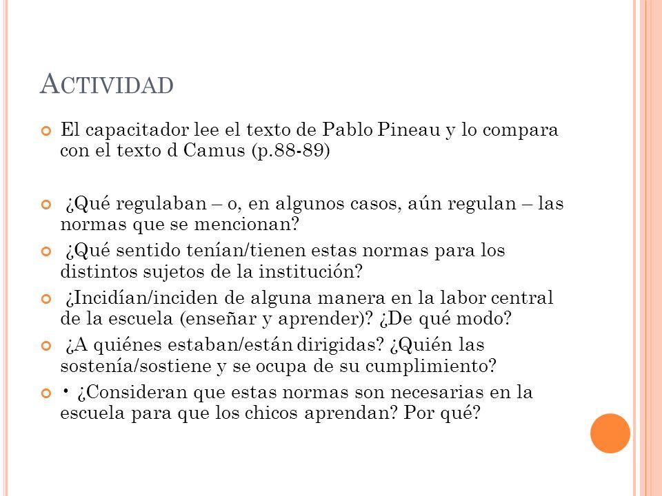 Actividad El capacitador lee el texto de Pablo Pineau y lo compara con el texto d Camus (p.88-89)
